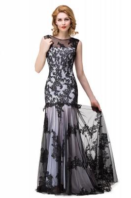 DANIELA | Scoop Neck Mermaid Black lace Applique Evening Prom dresses_1