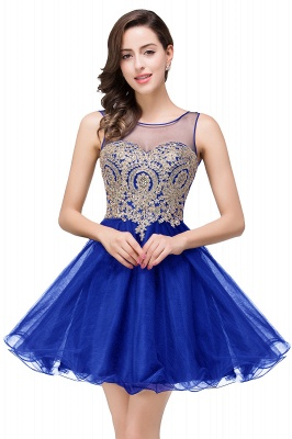 Sleeveless Appliques Elegant Black Tulle Homecoming Dress UK_4