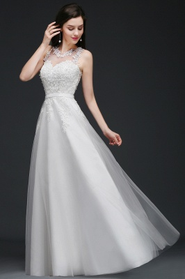 AMARI | A-Line Jewel Floor Length Tulle Wedding Dresses with Lace_7