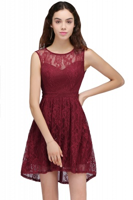 Burgundy Illusion Sleeveless A-line Lace Newest Homecoming Dress UK_1
