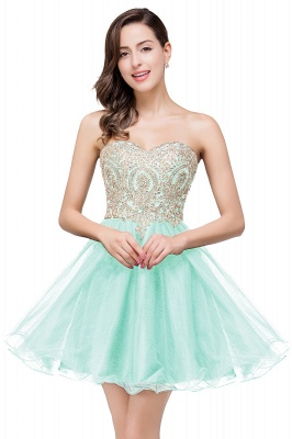 Gabriela | A Line Lace Appliques Sweetheart Short Prom Dresses_6