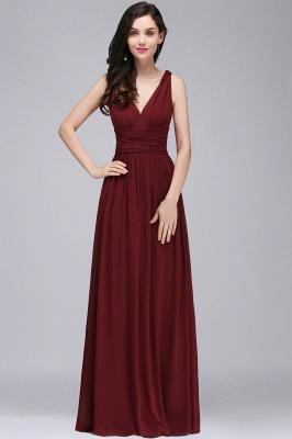 V-Neck Ruched Chiffon A-line Burgundy Evening Dress UKes UK_1