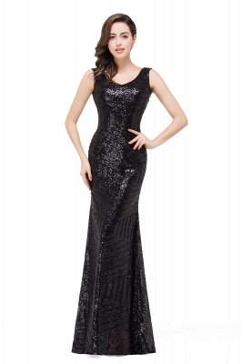 Sleeveless Newest Long Jewel Sequin Mermaid Prom Dress UK_4