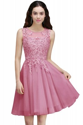 Silver Tulle Short A-Line Sleeveless Appliques Homecoming Dress UK_1