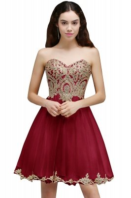 Lovely Sweetheart Short Appliques Lace-Up Homecoming Dress UK_1