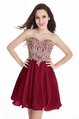 Sexy Short Mini Sweetheart Appliques Homecoming Dress UKes UK_3