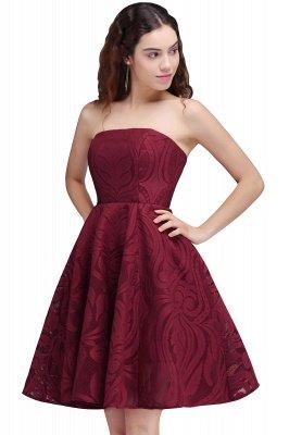 Short Simple Strapless Sleeveless Burgundy A-line Homecoming Dress UK_1