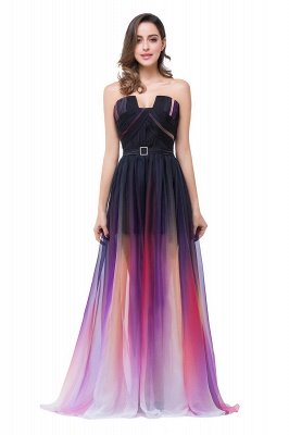 ELISABETH   A-line Floor-length Strapless Tulle Prom Dresses with Sash_4
