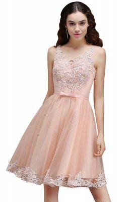 Sleeveless Sexy Short Tulle Lace Bowknot Homecoming Dress UK_1