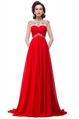 Royal Blue A-Line Chiffon Prom Dress UKes UK Ruffles Floor Length Evening Dress UKes UK with Beadings_2