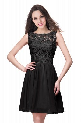 Lovely Illusion Sleeveless Chiffon Short Cocktail Dress UK With Lace_7