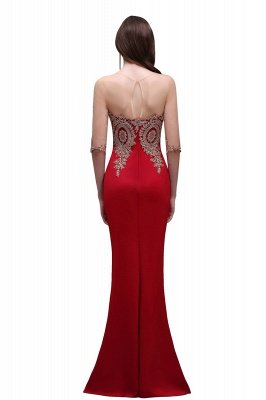 BELLA | Sheath Round Neck Floor-Length Burgundy Prom Dresses With Applique_7