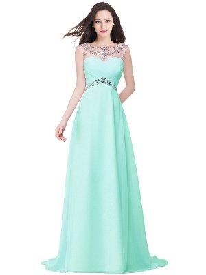 Royal Blue A-Line Chiffon Prom Dress UKes UK Ruffles Floor Length Evening Dress UKes UK with Beadings_5