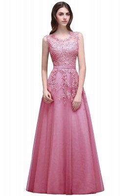 Bateau-Neck Lace Red A-line Beaded Long Party Dress UKes UK_1