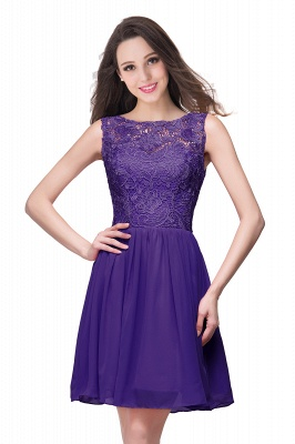 Lovely Illusion Sleeveless Chiffon Short Cocktail Dress UK With Lace_3