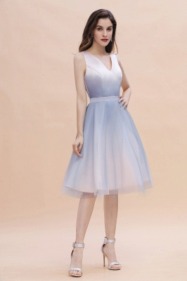 Elegant Gradient V-Neck Gray Mini Dress Tea Length party daily to life Dress_6
