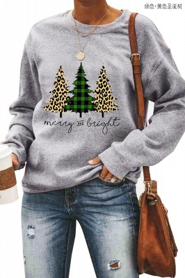 Leopard Printed Plaid Trees Christmas Sweatshirt Long Sleeve Lightweight Pullover Tops Blouse Women_11