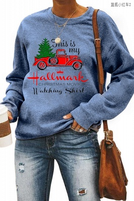 Leopard Printed Plaid Trees Christmas Sweatshirt Long Sleeve Lightweight Pullover Tops Blouse Women_25