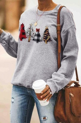 Leopard Printed Plaid Trees Christmas Sweatshirt Long Sleeve Lightweight Pullover Tops Blouse Women_15