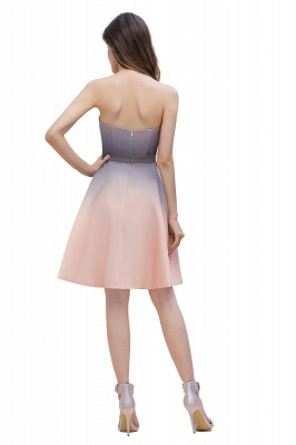 Gradient Sleveless A-lin Mini Dress Elegant Strapless short Evening Homecoming Dress_5