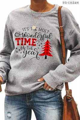 Leopard Printed Plaid Trees Christmas Sweatshirt Long Sleeve Lightweight Pullover Tops Blouse Women_3