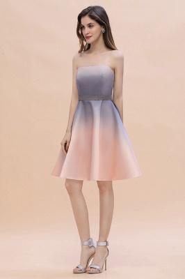 Gradient Sleveless A-lin Mini Dress Elegant Strapless short Evening Homecoming Dress_10
