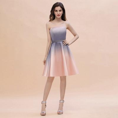 Gradient Sleveless A-lin Mini Dress Elegant Strapless short Evening Homecoming Dress_1