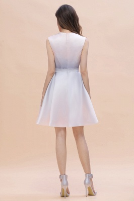 Gradient Mini Daily Wear Dress Crew Neck Sleeveless A-line Evening Party Dress_8