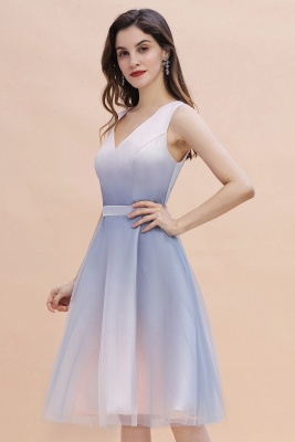 Elegant Gradient V-Neck Gray Mini Dress Tea Length party daily to life Dress_5