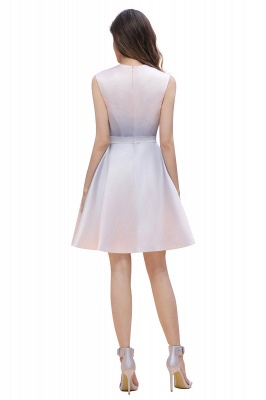 Gradient Mini Daily Wear Dress Crew Neck Sleeveless A-line Evening Party Dress_7