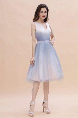 Elegant Gradient V-Neck Gray Mini Dress Tea Length party daily to life Dress_6