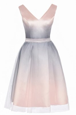 Elegant Gradient V-Neck Gray Mini Dress Tea Length party daily to life Dress_12