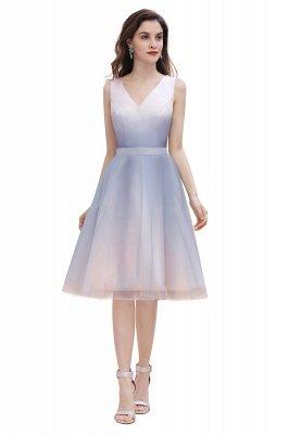 Elegant Gradient V-Neck Gray Mini Dress Tea Length party daily to life Dress_7