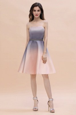 Gradient Sleveless A-lin Mini Dress Elegant Strapless short Evening Homecoming Dress_6