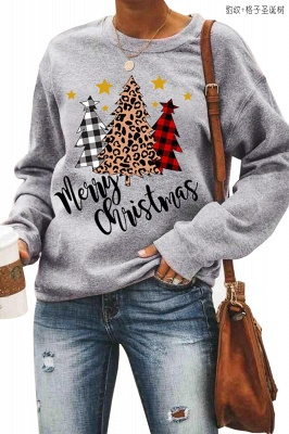 Leopard Printed Plaid Trees Christmas Sweatshirt Long Sleeve Lightweight Pullover Tops Blouse Women