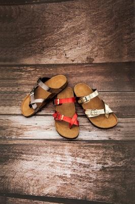 Women's EVA Footbed Sandal Comfort Flat Slide Sandals Adjustable Double Buckle Flat Sandals