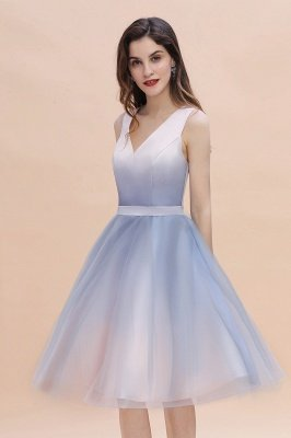 Elegant Gradient V-Neck Gray Mini Dress Tea Length party daily to life Dress_9