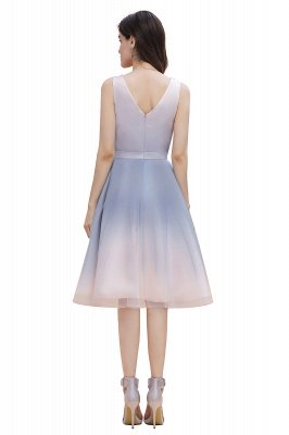 Elegant Gradient V-Neck Gray Mini Dress Tea Length party daily to life Dress_8