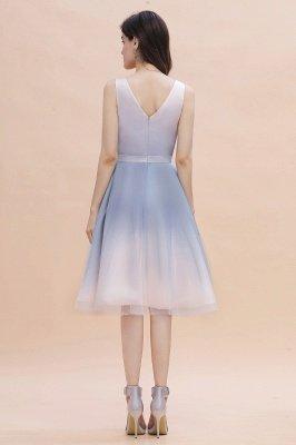 Elegant Gradient V-Neck Gray Mini Dress Tea Length party daily to life Dress_4