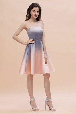 Gradient Sleveless A-lin Mini Dress Elegant Strapless short Evening Homecoming Dress_9