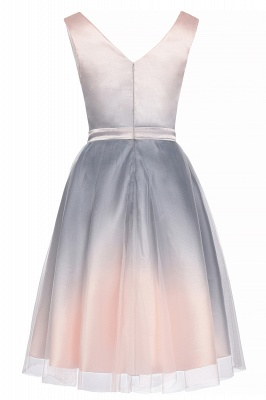 Elegant Gradient V-Neck Gray Mini Dress Tea Length party daily to life Dress_11