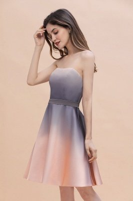Gradient Sleveless A-lin Mini Dress Elegant Strapless short Evening Homecoming Dress_7