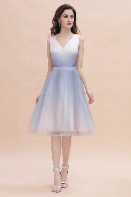 Elegant Gradient V-Neck Gray Mini Dress Tea Length party daily to life Dress_2
