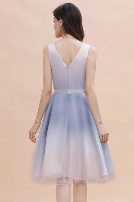 Elegant Gradient V-Neck Gray Mini Dress Tea Length party daily to life Dress_3