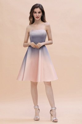 Gradient Sleveless A-lin Mini Dress Elegant Strapless short Evening Homecoming Dress_11