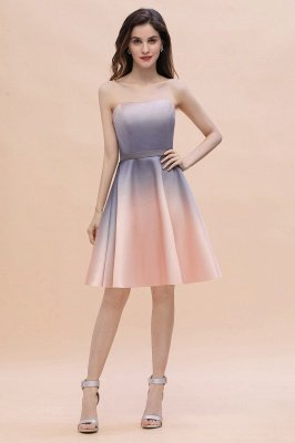 Gradient Sleveless A-lin Mini Dress Elegant Strapless short Evening Homecoming Dress