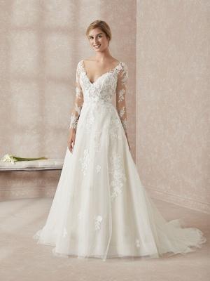 Elegant V-Neck Long Sleeve Wedding Dress A-line Lace Appliques Bridal Gowns