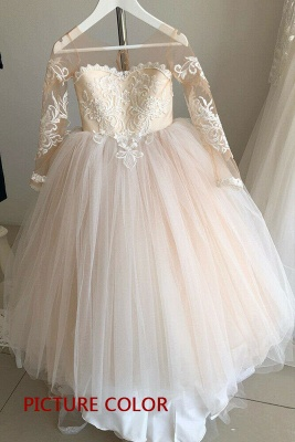 Romantic Princess Flower Girl Dress Long Sleeve Lace Gown_2