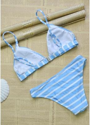 Women Striped Sexy Bikini Set Backless Low Waist Summer Beach Bathing Suit Swimwear_5