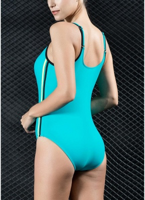 Women Sports One Piece Swimsuit Swimwear Backless Splice Racing Training Bathing Suit_6